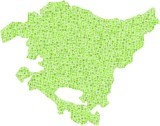 Region of The Basque Country in a mosaic of green squares