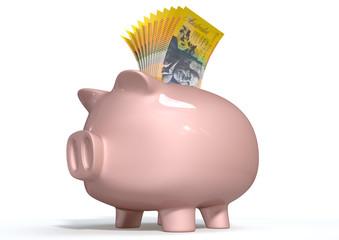 Piggy Bank Saving Australian Dollars
