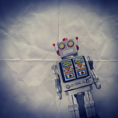 retro robot paper backdrop
