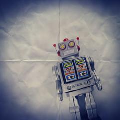 retro robot paper backdrop