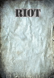 Riot letters on antique poster