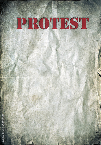 Red Protest letters on a vintage paper background