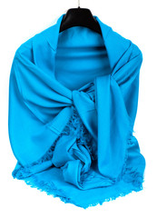Blue satin scarf