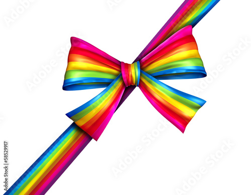 Rainbow Diagonal Gift Ribbon Bow