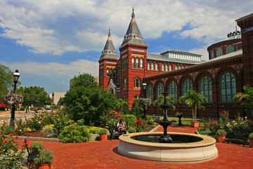 Smithsonian Castle, landmark in Washington DC, USA