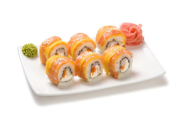 rolls with salmon and mango
