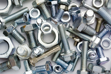 bolts, screws, different type of metal