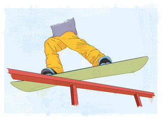 grunge styled snowboarder illustration