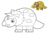 Cartoon dinosaur - coloring page with preview
