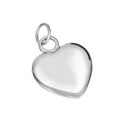 Silver pendant in shape of heart