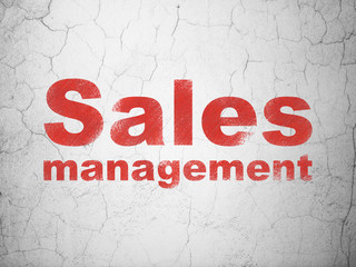 Marketing concept: Sales Management on wall background