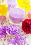 Violet sea salt for spa and candle