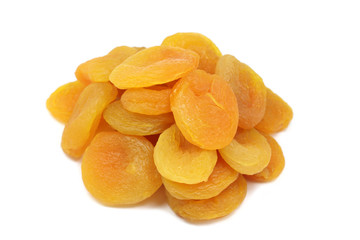 dried fruits of apricot on a white background