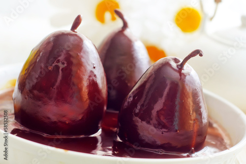 Pear with chocolate, sweet food