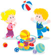 Girl and boy playing a big colorful ball