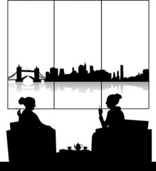 Silhouettes of girls in cafe drinking cup of tea scene