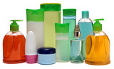 10 colored plastic bottles with liquid soap and shower gel
