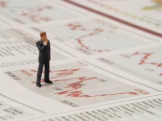 Überlegung am Börsenmarkt