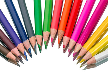 Fifteen colored pencils
