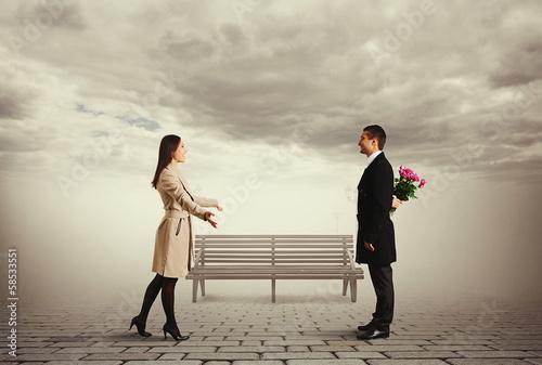 beautiful woman greeting her man