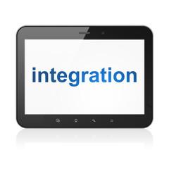 Finance concept: Integration on tablet pc computer