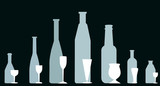 Bottles and wineglasses - Vector