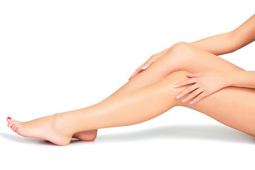 Woman legs and hands, white background