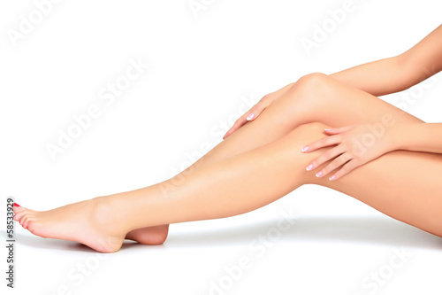 Woman legs and hands, white background - 58533929