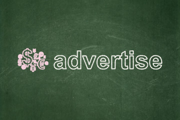 Advertising concept: Finance Symbol and Advertise on chalkboard