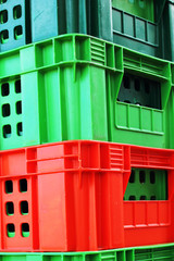 colorful plastic - stacked packing containers.