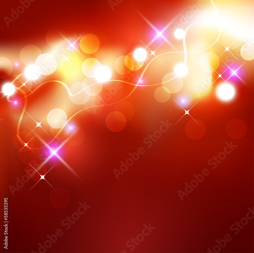 Festive lights background with sparkles. Vector illustration.