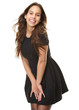 Happy young woman laughing in black dress