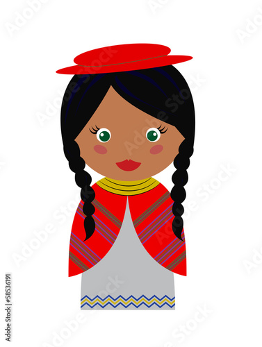 Vector Illustration of Bolivian Girl