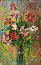Peinture à l'huile sur toile. Bouquet de fleurs