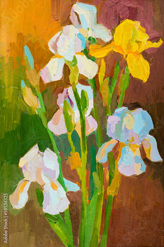 Oil painting on canvas. Bouquet of flowers