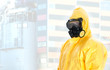 Worker in protective chemical suit. Space for your text.