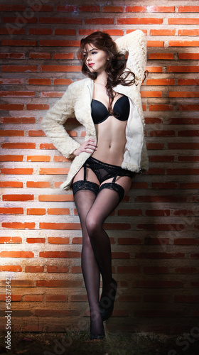 Beautiful brunette woman in black sensual lingerie posing