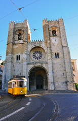 Lisbon tram at Se cathedral