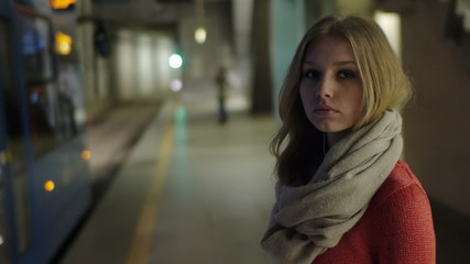gorgeous model waiting for her ride underground station beautifu