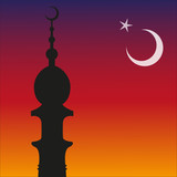 Silhouette of Islamic Mosque and Ramadan. Moon. Vector eps10