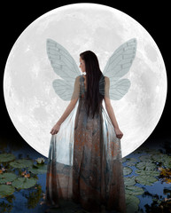 Water fairy in front of the moon