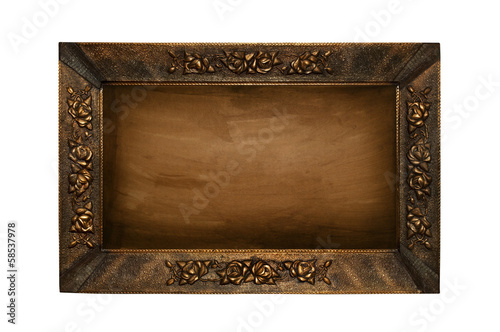 An old picture frame isolated on white background