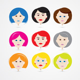 Women Heads Set with Colorful Hair