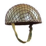 Retro military helmet on a white background.