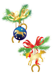 Christmas balls and horses on fir branches