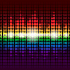 Rainbow digital equalizer vector background