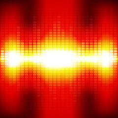 Red digital equalizer background with flares