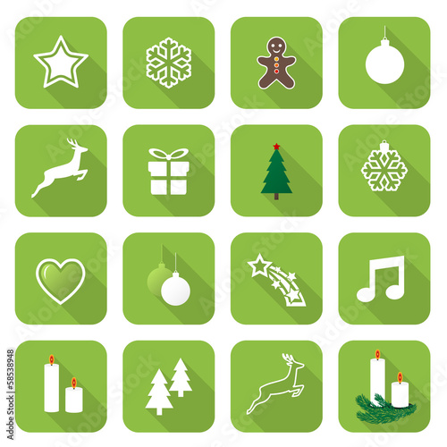 Set of web light green flat icons, buttons – Christmas Time