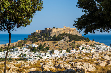 Town of Lindos and Acropolis on the island of Rhodes, Greece