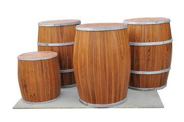Many Beers Barrel-Shaped on gray board isolated with clipping pa